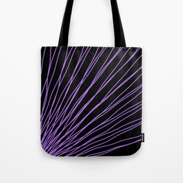 Rays of violet light with intersecting waves on black. Tote Bag