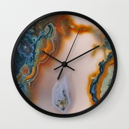 Translucent Teal & Rust Agate Wall Clock