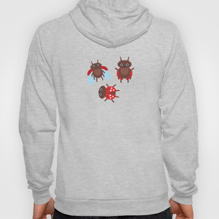 Funny insects ladybugs pattern on white background Hoody