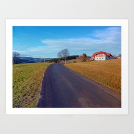 Country road, scenery and blues sky | landscape photography Art Print