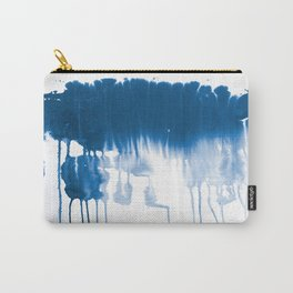 Paint 1 - indigo blue drip abstract painting modern minimal trendy home decor dorm college art Carry-All Pouch