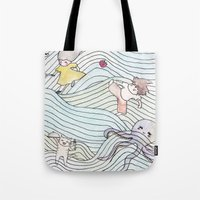 cook Tote Bags featuring Cook Party by Jane Chu
