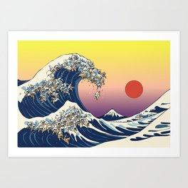The Great Wave Of  Cat Art Print