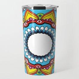 Blue & Rainbow Mandala Drawing Travel Mug