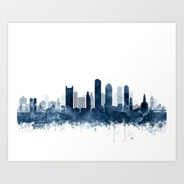 Boston Skyline Navy Blue Watercolor by Zouzounio Art Art Print