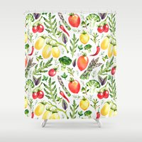 vegetables Shower Curtains featuring Watercolor vegetables by Achtung