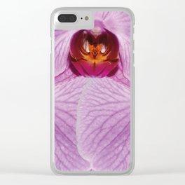 Big Violet Orchid Blossoms Design Clear iPhone Case