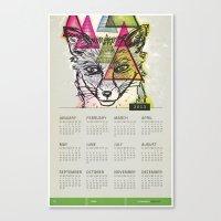 calendar Canvas Prints featuring Fox Calendar  by Pixel Pop
