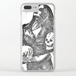 Inner Demons - black and white surreal, sexy demonic girl, woman posing with skulls abstract artwork Clear iPhone Case