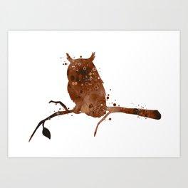 Owl Art Birds Gift Colorful Brown Watercolor Art Wildlife Nature Owl Lovers Art Animal Lovers Gift Art Print