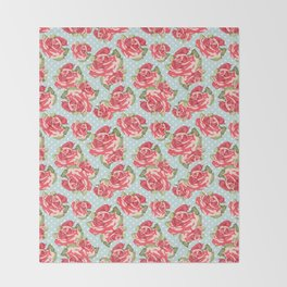 English Roses Blue Polka Dots Throw Blanket