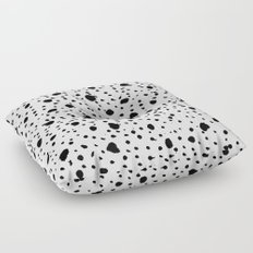 Ink Drops Black and White Floor Pillow