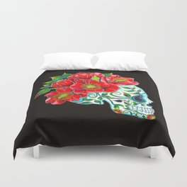 Sugar Skull with Red Poppies Duvet Cover