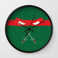 ninja turtles Wall Clocks featuring Red Ninja Turtles Raphael by 1986