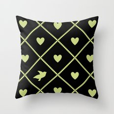 Always Near (from the Valentine set) (colors: midnight lime) Throw Pillow