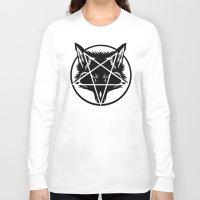 pentagram Long Sleeve T-shirts featuring Pentagram Wolf Inverted by Mohrne