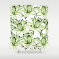 succulents Shower Curtains featuring Succulents by Julia Badeeva