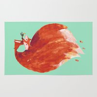 kitsune Area & Throw Rugs featuring Kitsune (Fox of fire) by Picomodi