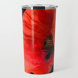 Poppies on Black Travel Mug