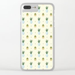 Pastel yellow brown green cactus floral dots summer pattern Clear iPhone Case