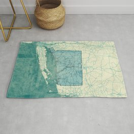 Connecticut State Map Blue Vintage Rug