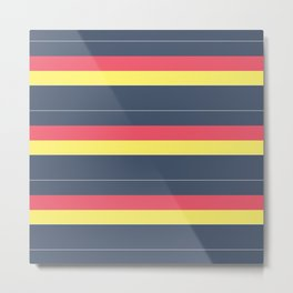 Striped , simple , gray , yellow , red Metal Print