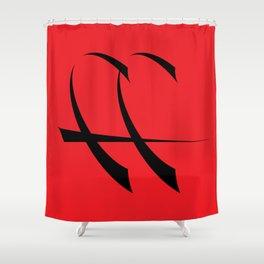 leaff [ redrawn ] ligature Shower Curtain