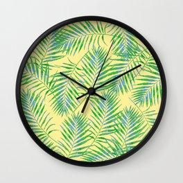 Fern Leaves Yellow Wall Clock