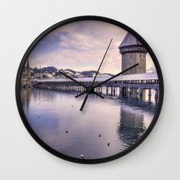 Lucerne old bridge by winter Wall Clock