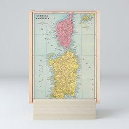 Vintage Corsica and Sardinia Map (1901) Mini Art Print