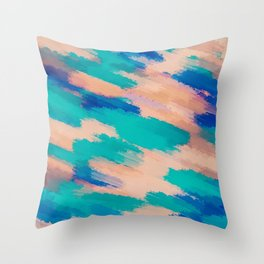 camouflage splash painting abstract in pink green and blue Throw Pillow