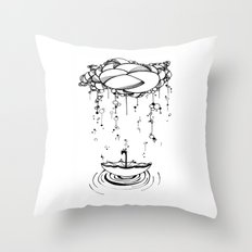 Abstract Whimsical illustration, Rain, cloud, umbrella, Black and white, pen and ink Throw Pillow