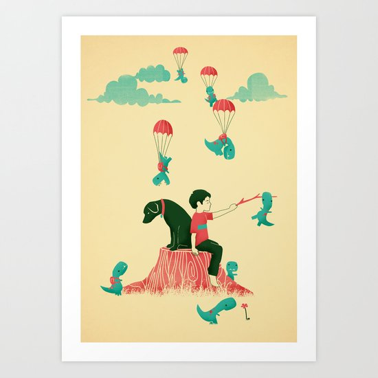 Tiny T-Rex Invasion Art Print