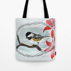Black capped chickadee and fantasy flowers and lines Tote Bag