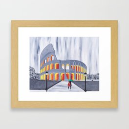 A Stroll by the Colosseum Framed Art Print
