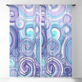 Whirlwind in Turquoise, Lavender, Purple, Navy Sheer Curtain