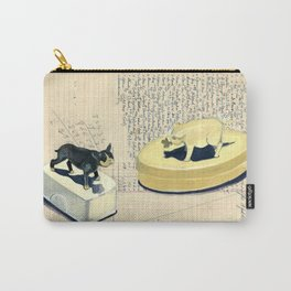 Vintage Pig and Dog Celluloid Boxes in Gouache Carry-All Pouch