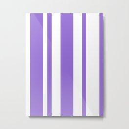 Mixed Vertical Stripes - White and Dark Pastel Purple Metal Print
