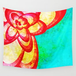 Red Abstract Flower Wall Tapestry
