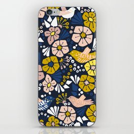 Blue wellness garden - florals matching to design for a happy life iPhone Skin