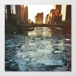 Ice Under the Wabash Avenue Bridge - Chicago, Illinois Canvas Print