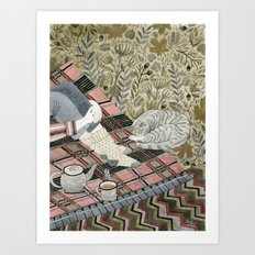 Autumn picnic with my cat Art Print