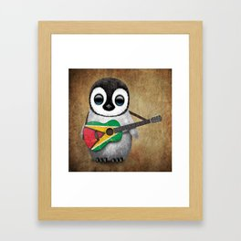 Baby Penguin Playing Guyanese Flag Acoustic Guitar Framed Art Print