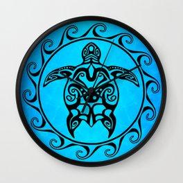 Black Tribal Turtle In Maori Sun Symbol Wall Clock