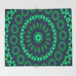 Lovely Healing Mandalas in Brilliant Colors: Black, Royal Blue, Dark Green, and Russian Green Throw Blanket