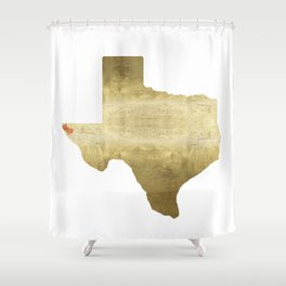 el paso hearts texas map gold foil Shower Curtain