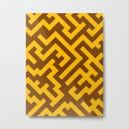 Amber Orange and Chocolate Brown Diagonal Labyrinth Metal Print