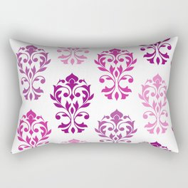Heart Damask Art I Pinks Plums White Rectangular Pillow