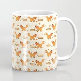 Red Fox & Hearts Pattern Coffee Mug