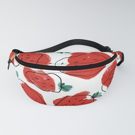 Modern Artsy Watercolor Red Mint Green Black Strawberries Fanny Pack